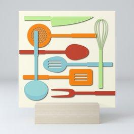 Kitchen Colored Utensil Silhouettes on Cream III Mini Art Print