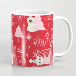 Santa Claus Cute Sloth Christmas pattern Red #christmas Coffee Mug