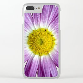 Beautiful Purple Flower On Gray Clear iPhone Case