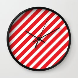 Basic Stripes Red Wall Clock
