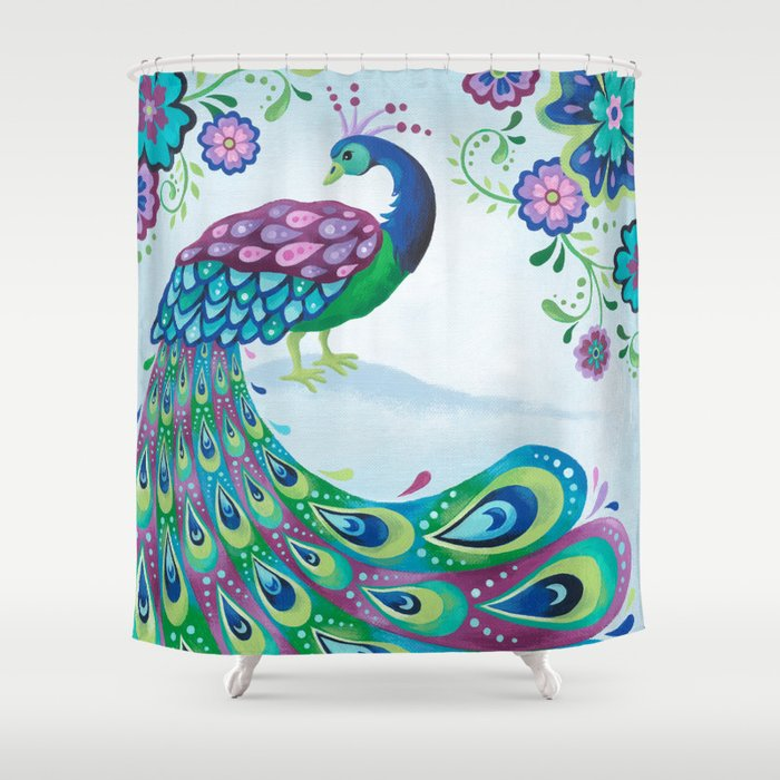 Flaunting It Peacock Shower Curtain By Stevehaskamp