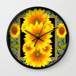 DECO BLACK-GREY KANSAS SUNFLOWERS ART Wall Clock
