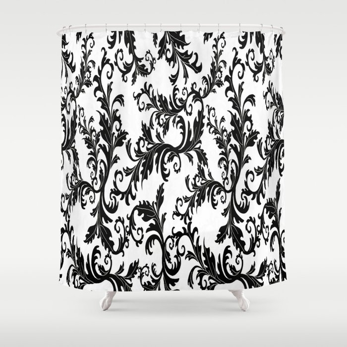 Black And White Floral Shower Curtain By Kasseggs Society6