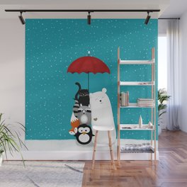 Umbrella party Wall Mural