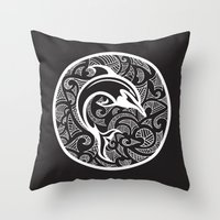 maori Throw Pillows featuring Black Maori Dolphin by freebornline