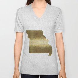 missouri gold foil state map Unisex V-Neck