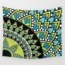 Petrichor Blue & Green Leaf Patterned Mandala Wall Tapestry