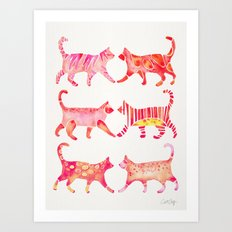 Cat Collection – Pink Palette Art Print