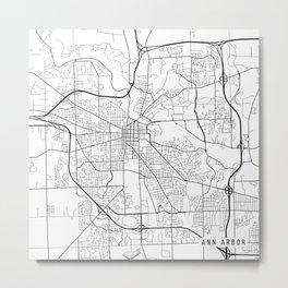 Ann Arbor Map, USA - Black and White Metal Print