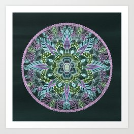 hand drawn mandala purple and pink Art Print