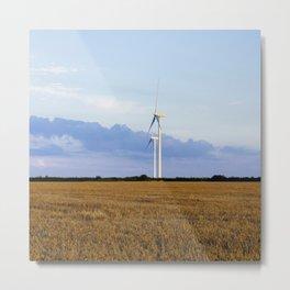 Evening sky and rural Wind turbines. Norfolk, UK. Metal Print