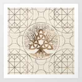 Tree of life -Yggdrasil with Triquetra Pastel gold Art Print