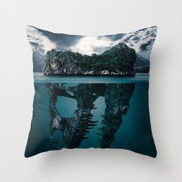 Abstract Fantasy Artistic Island Throw Pillow