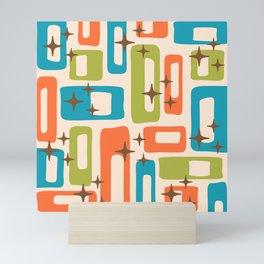 Retro Mid Century Modern Abstract Pattern 921 Orange Chartreuse Turquoise Mini Art Print