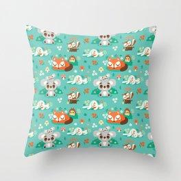 Sleeping Woodland Friends / Cute Animals Throw Pillow