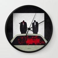 pulp fiction Wall Clocks featuring Pulp by Osvaldo Casanova