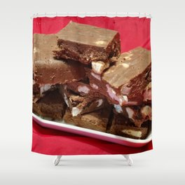 Cherry Chocolate Marshmallow Fudge On A Plate Shower Curtain