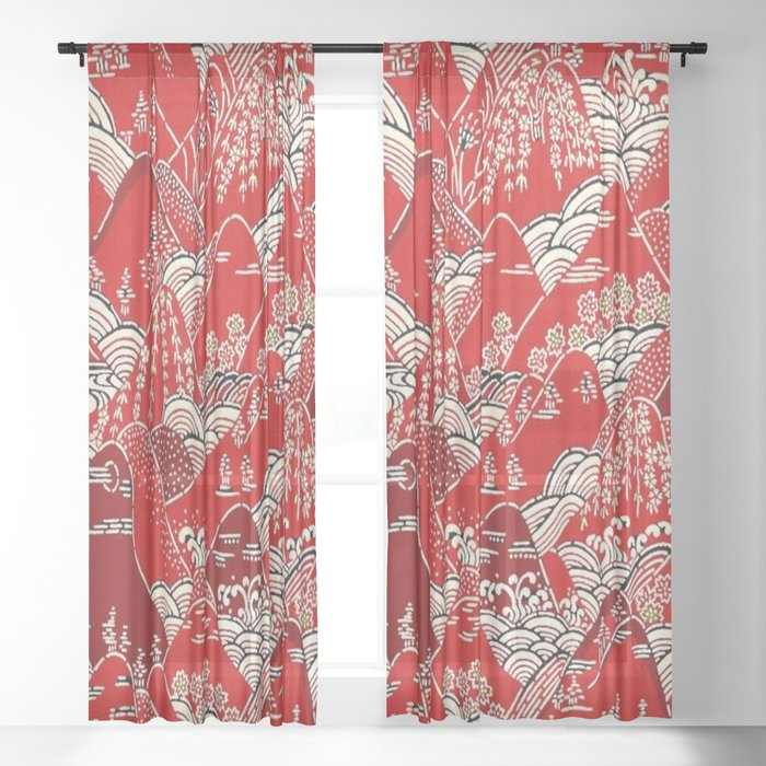 Red Mountains Sheer Curtain
