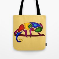 chameleon Tote Bags featuring Chameleon by Aleksandra Mikolajczak