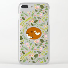 Friendship in Wildlife_Fox and Bunny_Bg Black Clear iPhone Case