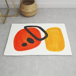 Midcentury Modern Colorful Abstract Pop Art Space Age Fun Bright Orange Yellow Colors Minimalist Rug