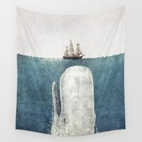 text Wall Tapestries featuring The Whale - vintage  by Terry Fan