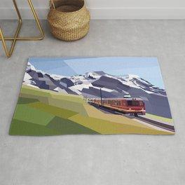 Geometric Jungfraujoch railway, Bernese Alps, Switzerland Rug