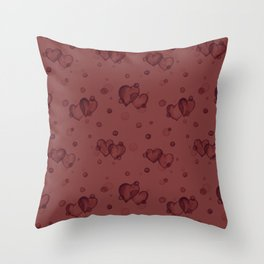 Brick Red Bubble Hearts Throw Pillow