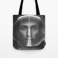 interstellar Tote Bags featuring Interstellar  by Laura Racero