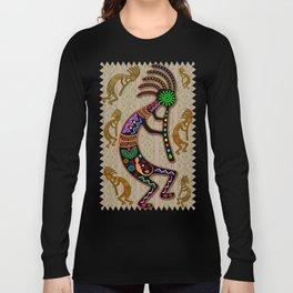 Kokopelli Rainbow Colors on Tribal Pattern  Long Sleeve T-shirt