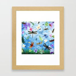 There Be Dragons Whimsical Dragonfly Art Framed Art Print