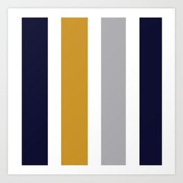 Quatro Stripe Minimalist Broad Stripe Color Block Pattern in Mustard Yellow, Navy Blue, Gray, White Art Print