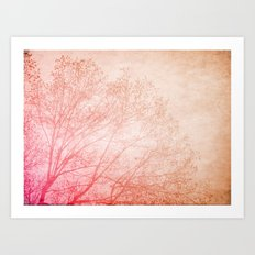 Pink, Brown and the tree Art Print