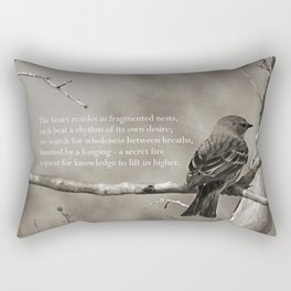The Quest:  Black and White Bird Antiqued Rectangular Pillow