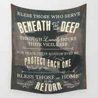submarine Wall Tapestries featuring Submariner's Hymn (submarine version) by Modern Rosie