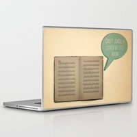 book cover Laptop & iPad Skins featuring DON'T JUDGE A COVER BY ITS BOOK! by filiskun