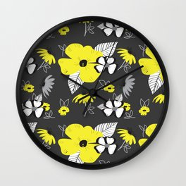 Yellow and Black Drawn Flowers on Gray Wall Clock