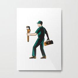 Plumber Walking Carry Toolbox Wrench Woodcut Metal Print