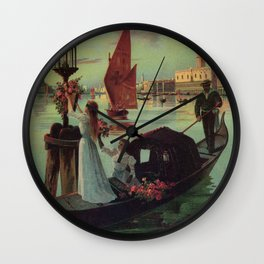 Paris Venice Victorian romantic travel Wall Clock