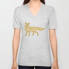 FUR IS FOR ANIMALS NOT RICH IDIOTS vegan fox quote Unisex V-Neck