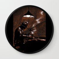 bar Wall Clocks featuring Noir Bar by David Miley