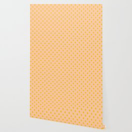 Amber Orange on Deep Peach Orange Stars Wallpaper