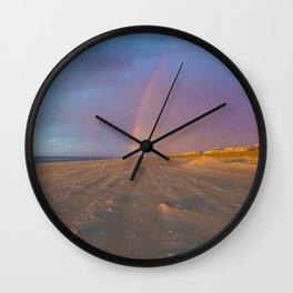 Rainbow at Sunrise on Beach Wall Clock