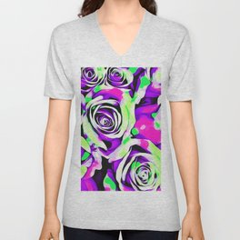 rose texture abstract in pink purple green Unisex V-Neck