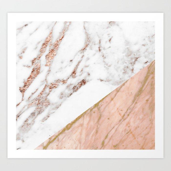 Marble rose gold blended Kunstdrucke