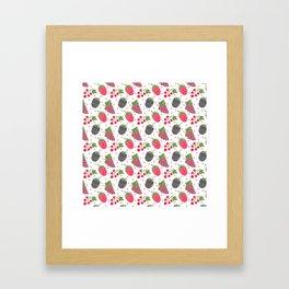 Modern blackberry fruit red raspberry berries pattern Framed Art Print