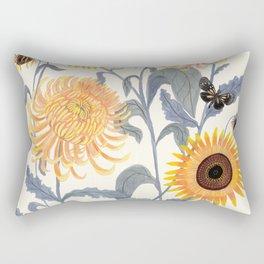 Crysanthmums and Sunflowers Rectangular Pillow