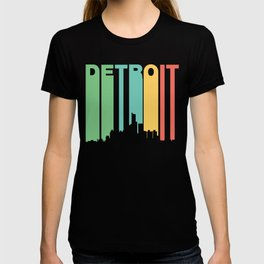 Retro 1970's Style Detroit Michigan Skyline T-shirt