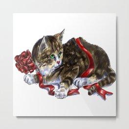 Holiday Kitten Metal Print