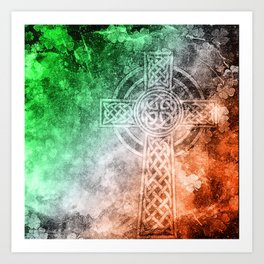 Irish Celtic Cross Art Print